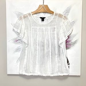 H&M Lace Ruffle Sleeve Top White Size S